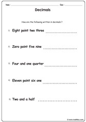 Decimals sentence problems