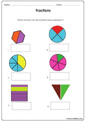 Fractions shown with circles squares