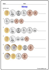 Money pounds british addition of coins