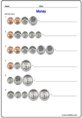 Money USD addition of coins sheet 1