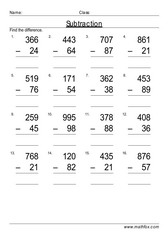 Subtraction 2 from 3 digit numbers