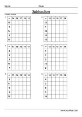 Subtraction table drill