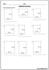 Perimeter area of squares