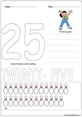 Number 25 Worksheet