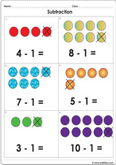 Subtract 1 with dots up to 10 worksheet