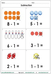Subtract 1 with pictures up to 10 worksheet