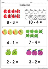 Subtract with pictures up to 10 worksheet