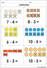 Subtract with shapes up to 10 worksheet