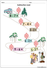 Subtraction bus stop game to 10 worksheet