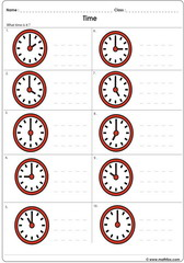 Time on analogue clocks worksheet 1